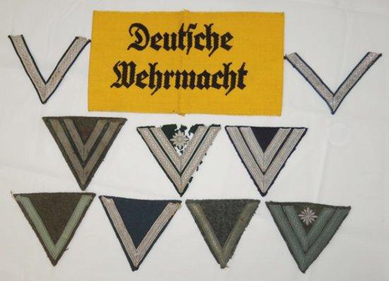 10 pcs. WWII German Wehrmacht Armband/Heer-Luftwaffe-SS Sleeve Chevrons