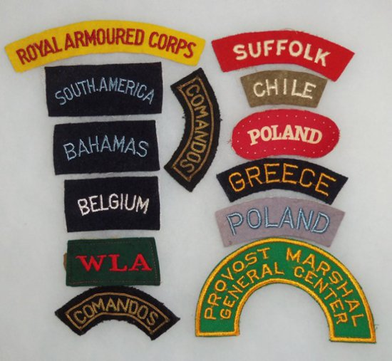 13 PCS. WW2 US/British Shoulder Titles
