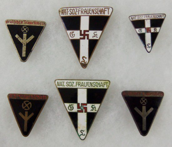6 pcs. WWII German Female National Female Organization Membership Pins
