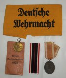 5 pcs. WWII German Wehrmacht Armband/West Wall Medal/War Merit Medal w/Issuance Envelop/Ribbon