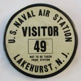 Rare WW2/Pre WW2 U.S. Naval Air Station LAKEHURST, N.J. Visitor's Badge-Hindenburg Crash