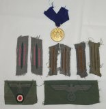 9 pcs. WW2 German Heer 12 Yr. Faithful Service Medal/Collar Insignia/Cap & Breast Eagle