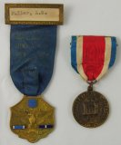 2pcs-WW1 AEF 27th Engineers 1918-19 France Service Medal-1934 US Legion Of Valor Reunion Medal