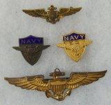 4pcs WW2 USN/USMC Pilot Wings. USN V-5 Insignia