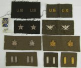 9 Pair WW2 US Officer's Bullion Rank Insignia-2nd Lt. to Brig. General-Rare Colonel