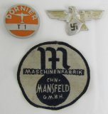 3pcs-Scarce Dornier Factory Worker Badge-Guard Cap Eagle-Worker's Uniform Patch