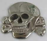 RARE! Large Solid Metal Totenkopf Skull W/Nickel-Silver Finish-For Buildings. Podium..?