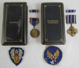4pcs-WW2 US AAF Cased Air Medal & DFC-Theater Made 9th AAF Patch/HQ By Gemsco