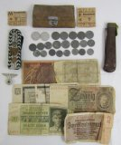 Misc. WW2 Nazi Coins-Paper Reichsmark Bills-SA/SS Cap Eagle-German Soldier's Knife