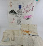 WW2 US 97th Division/1st Cavalry Division 2 Theater Officer Occupation Maps/Silk Banner