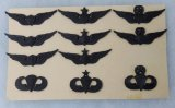 11 pcs. Post Vietnam War Era US Army Subdued Breast Badges w/ Collector Display Cardboard