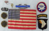 9 pcs. WWII US 48 Star Invasion Flag/Insignia/Patches/Son In Service Pin