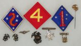 10 pcs. WW2 USMC 1st-2nd-4th Marine Division Sleeve Patches/Hat-Matching Collar EGA's/Misc. Pins