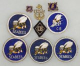 9 pcs. WWII US Navy/Seabees Insignia and Patches