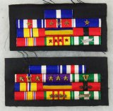 2pcs- Vietnam War Period USMC/USN Sewn Style Ribbon Bar Clusters-Navy Cross-Silver Star..Etc..