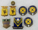7pcs-WW2  USAAF Collar Insignia-18th Fighter Sq./5th Photo Grp/Air Service Cmd./2nd Bomb Cmd.