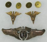 Rare WWII USAAC Flight Dental Surgeon Wings/Collar Insignia