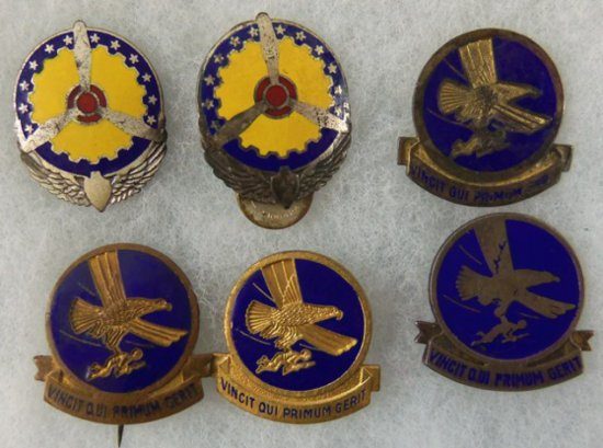 6 pcs. WW2 US Army Air Corps Troop Carrier Command/Air Technical Service Command Pins