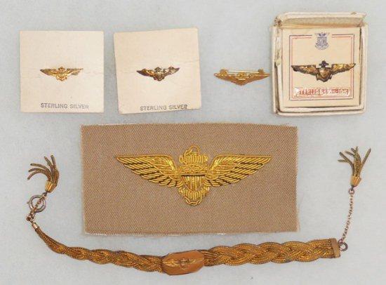 6 pcs. WWII USN/USMC Pilot Bullion Insignia/Pins/Bracelet