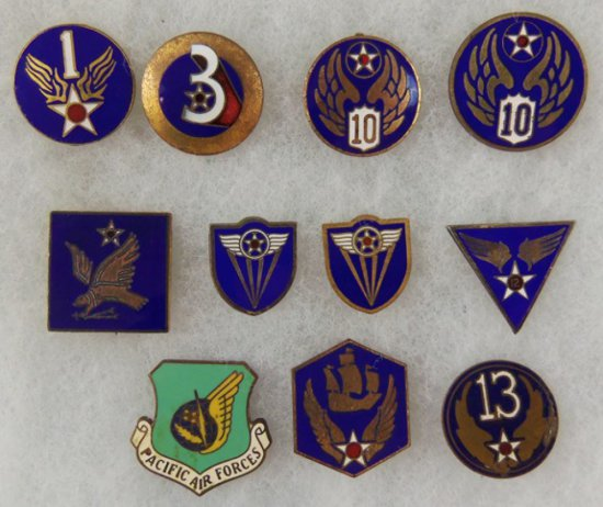 11 pcs. WW2 Army Air Corps Misc. Pins