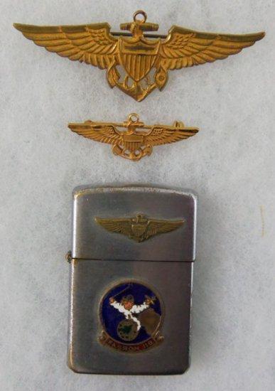 3 pcs. Korean War Era USN Pilot Wings/FASRON-119 Lighter (MA43/RM)