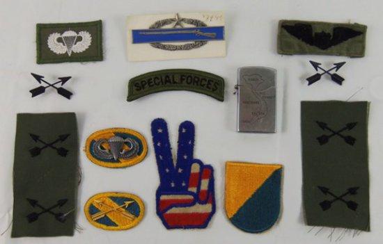 13 pcs. Vietnam War Era Lighter/Insignia/Patches (MA43/RM)