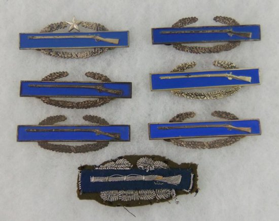 7 pcs. WWII/Vietnam Period Combat Infantry Badges