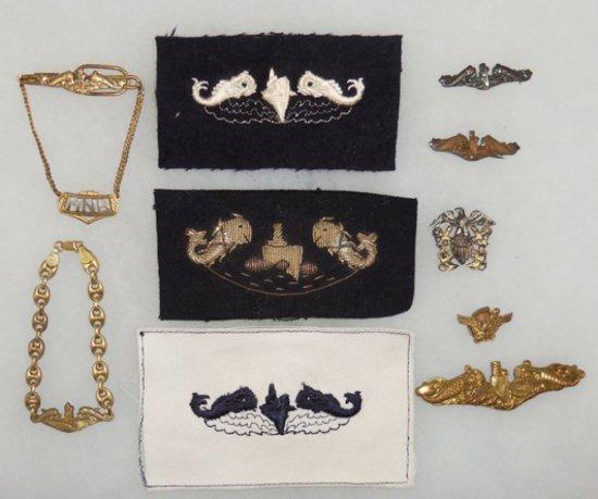 10 pcs. WWII/Korean War Era US Navy Submarine Dolphin Insignia/Pins/Bracelet/Tie Clasp