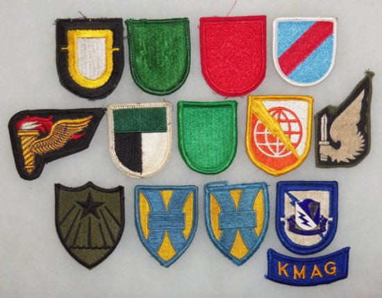 14 pcs. Mid to Late Vietnam War Period Special Forces Flashes/Misc. Patches