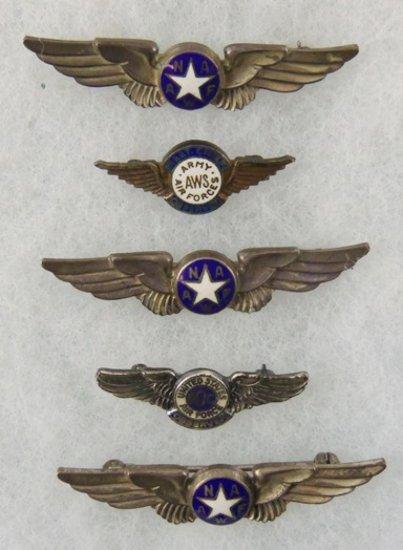 5 pcs. WW2 Army Air Force//Nat'l Assoc. Women's Air Force Pins