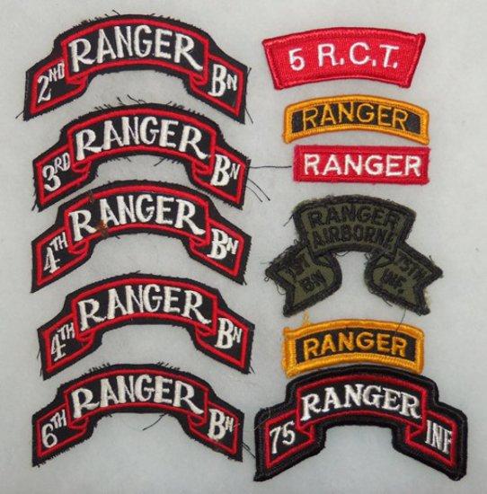 11 pcs.  Vietnam War Era/Later Misc. Ranger Scrolls/Tabs