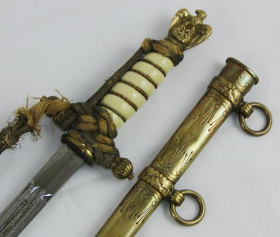 WW2 German Naval Officers Dagger/Scabbard/Portapee In Correct Tie-FW Holler