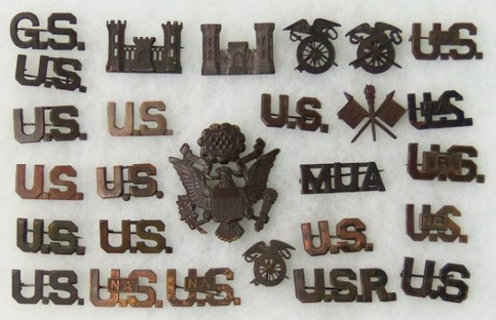 27pcs-WW1 US Army Officers Collar Insignia/Cap Device