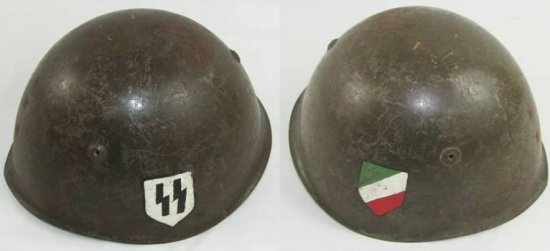 WW2 Italian M33 Helmet With Hand Painted SS Insignia