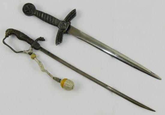 2pcs-WW1/WW2 German Army/Luftwaffe Officer Miniature Swords