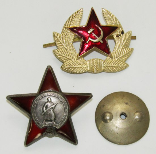 2pcs-WW2 Russian Order Of the Red Star/Numbered-Cap Device