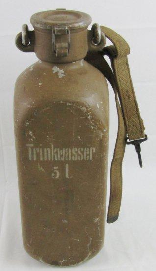 "WW2 German 5 Liter Aluminum ""Trinkwasser"" Water Bottle W/Tropical Finish"