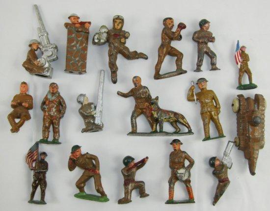 17pcs-WW1-1920's Metal Toy Soldiers