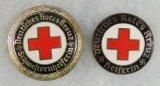 2pcs-Variant DRK Nazi Red Cross Nurse Assistant/Membership Badges-Enamel Versions