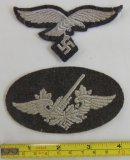 2pcs-Luftwaffe Anti-Aircraft Artillery Patch-Enlisted Breast Eagle