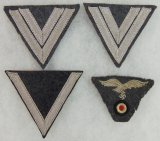 4pcs-WW2 Luftwaffe Sleeve Stripes-M43 Cap Insignia-Removed