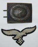 2pcs-Steel Luftwaffe Combat Buckle/Herman Goring Division Breast Eagle