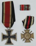 3pcs-WW2 Iron Cross 2nd Class-WW1 Honor Medal With Swords-2 Place Ribbon Bar.