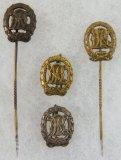 4pcs-WW2 Bronze, Silver & Gold DRL Stick Pins