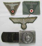 4pcs-Wehrmacht Uniform Insignia/Pebbled Aluminum Buckle W/Tab