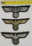 3pcs-Wehrmacht Officer, NCO & EM Breast Eagles