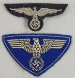 2pcs-Railway Protection (Bahnschutz) Police Arm Eagle & Reichspost Sports Shirt Eagle