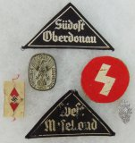 6pcs-Misc Hitler Youth Insignia-Female District Patches-Rally Pins