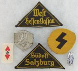 6pcs-Misc Hitler Youth Insignia- District Patches-Rally Pins