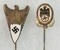 2pcs-Rare WW2 Nazi Industrial Air Travel Workers Loyalty And 1934 DDAC Stickpins